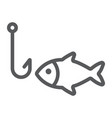 fishing line icon animal and underwater vector image
