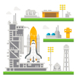 Flat design shuttle launch station vector image
