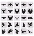 flying black dove pigeon simple icons set vector image vector image