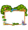 frame template with caterpillar and tree vector image vector image