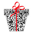 gift box with bow made of black valentines day vector image