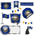 Glossy icons with New Hampshirite flag vector image vector image