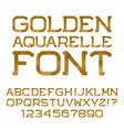 gold watercolor letters numbers golden font vector image
