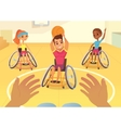 Handisport Boys and girls in wheelchairs playing vector image vector image