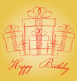 Happy birthday with gift box on a gold background vector image vector image