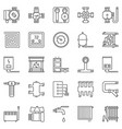 heating and boiler room outline icons set vector image