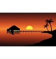 Hut in beach landscape vector image