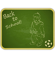 Little Boy with Ball on Retro School Board vector image vector image