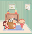 little kids group playing with toys in room vector image