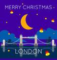 london bridge merry christmas poster vector image vector image