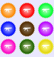 machine gun icon sign A set of nine different vector image vector image