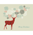 Merry Christmas text vintage reindeer composition vector image vector image