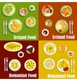 National dishes of irish and romanian cuisines vector image vector image