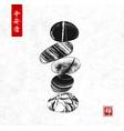 pebble zen stones balance on rice paper background vector image