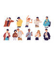 people with smartphones flat vector image vector image