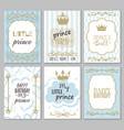 prince frames cute boy party invitation shower vector image