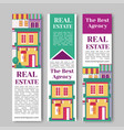 Real estate flat vertical banner set with house