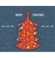 Red stylized Christmas tree New Year greeting vector image vector image