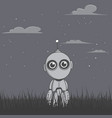 robot stands in the night field vector image