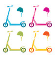 roller scooter set balance bikes isolated vector image vector image