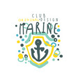 sea club logo design original template with anchor vector image vector image