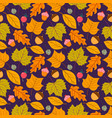 seamless pattern with acorns and autumn oak vector image