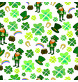 seamless st patrick s day green leprechaun vector image