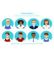 set of business people profile icons mix race vector image