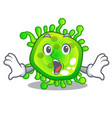 surprised cartoon microbes on the humans hand vector image