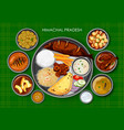 traditional himachali cuisine and food meal thali vector image vector image