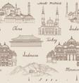 travel asia background world famous landmark vector image