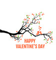 tree branch with hearts leaves and love birds vector image vector image