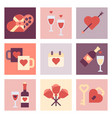 valentine day flat icon set vector image vector image
