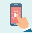 video play mobile hand vector image
