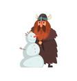 viking making a snowman comic medieval cartoon vector image vector image