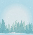 Vintage winter forest landscape vector image