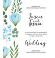 wedding invitation card flowers branch decoration vector image