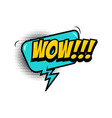 wow comic style phrase with speech bubble vector image vector image