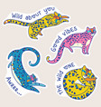 yellow jaguars characters with text vector image vector image