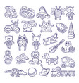 drawing vintage collection of toys vector image