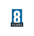 8 years anniversary icon birthday logo vector image vector image