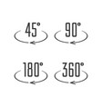 angle degrees icons vector image vector image