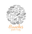 breakfast round banner for menu design vector image vector image