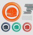 burger sandwich hamburger icon on the red blue vector image vector image