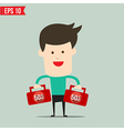 Businessman carry suitecase with 50 percent off vector image