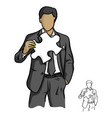 businessman holding white puzzle vector image