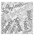 Carbohydrate Counting Diet Word Cloud Concept vector image vector image