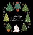 christmas trees with colorful baubles balls vector image