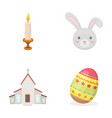 church candle easter bunny and painted egg vector image