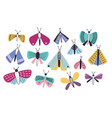 collection of bright colored cartoon moths of vector image vector image